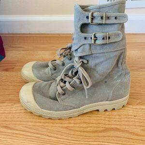 Palladium canvas buckle army combat boot